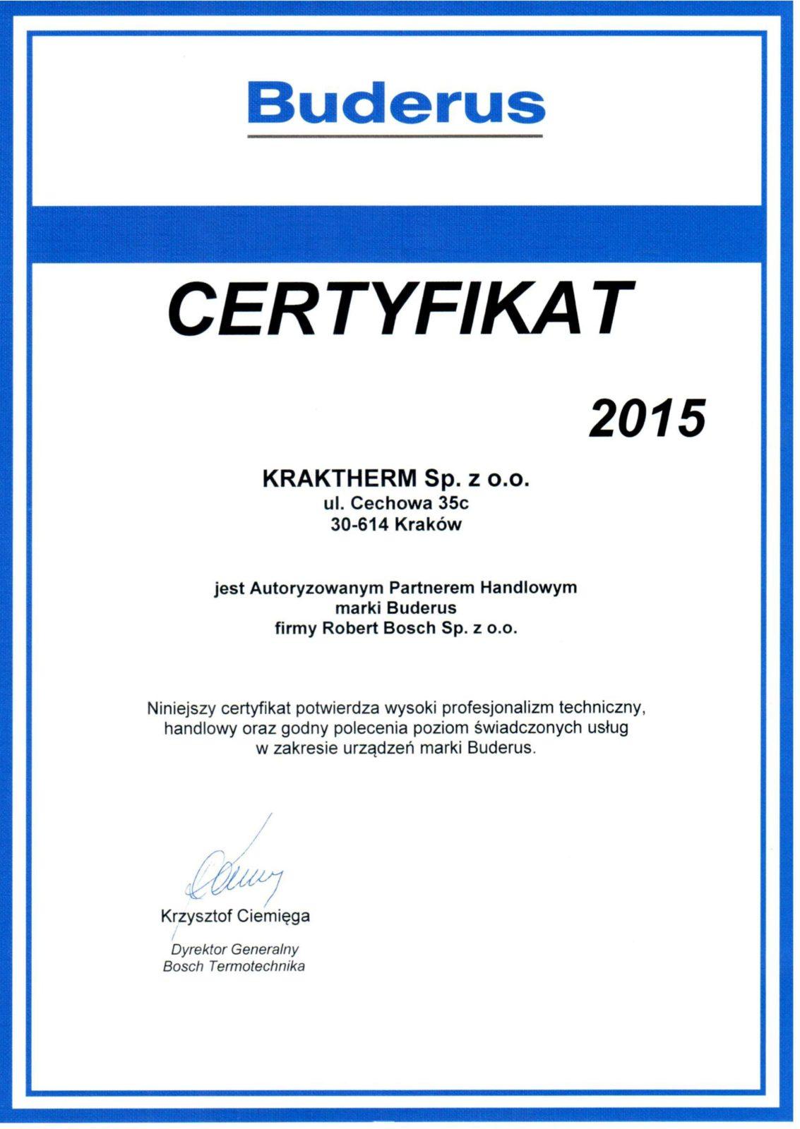 buderus certyfikat